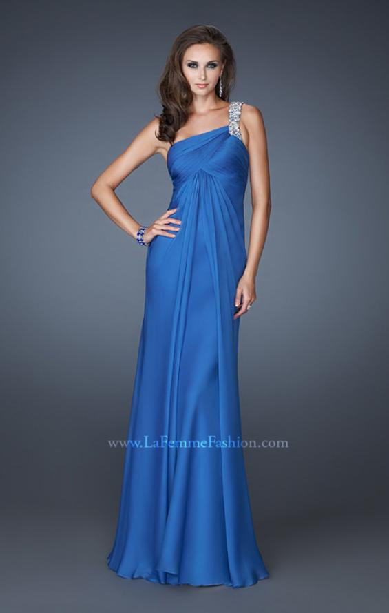 Picture of: Ruched Bodice Prom Dress with Patterned Top in Blue, Style: 18738, Detail Picture 1