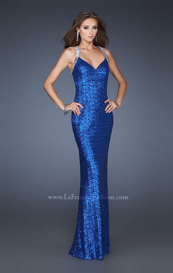Picture of: Long Sequin Dress with Cut Out Back and Beading, Style: 18744, Back Picture