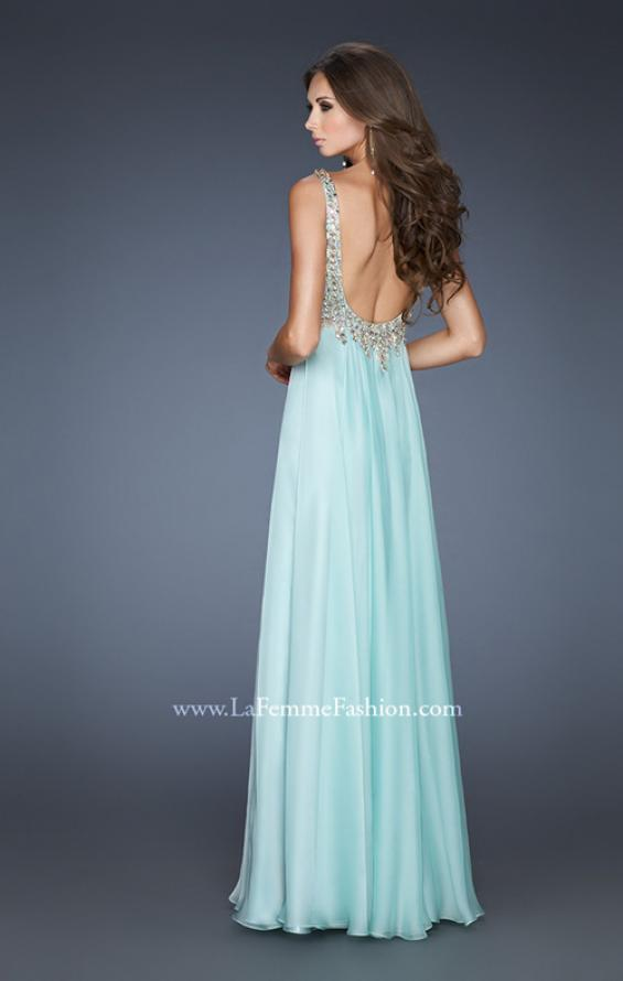 Picture of: Empire Waist Chiffon Gown with Scoop Neck Detail, Style: 18745, Back Picture