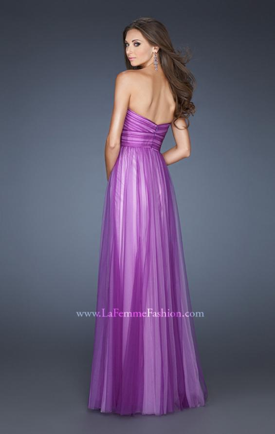Picture of: Two Tone Empire Waist Net Gown with Sweetheart Neckline in Purple, Style: 18746, Back Picture