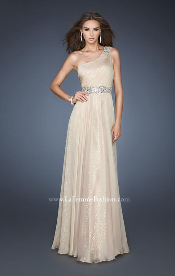 Picture of: A-line Sequined Prom Dress with Rhinestone Waist Detail in Nude, Style: 18747, Main Picture