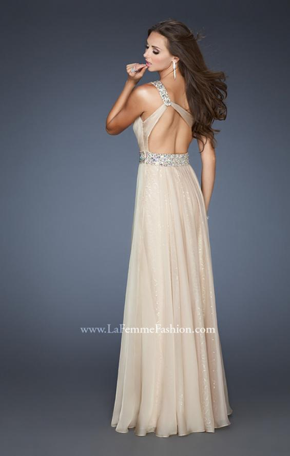 Picture of: A-line Sequined Prom Dress with Rhinestone Waist Detail in Nude, Style: 18747, Back Picture