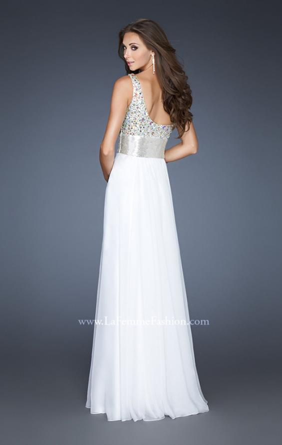 Picture of: Beaded Bodice Long Prom Dress with Belt Detail, Style: 18754, Back Picture