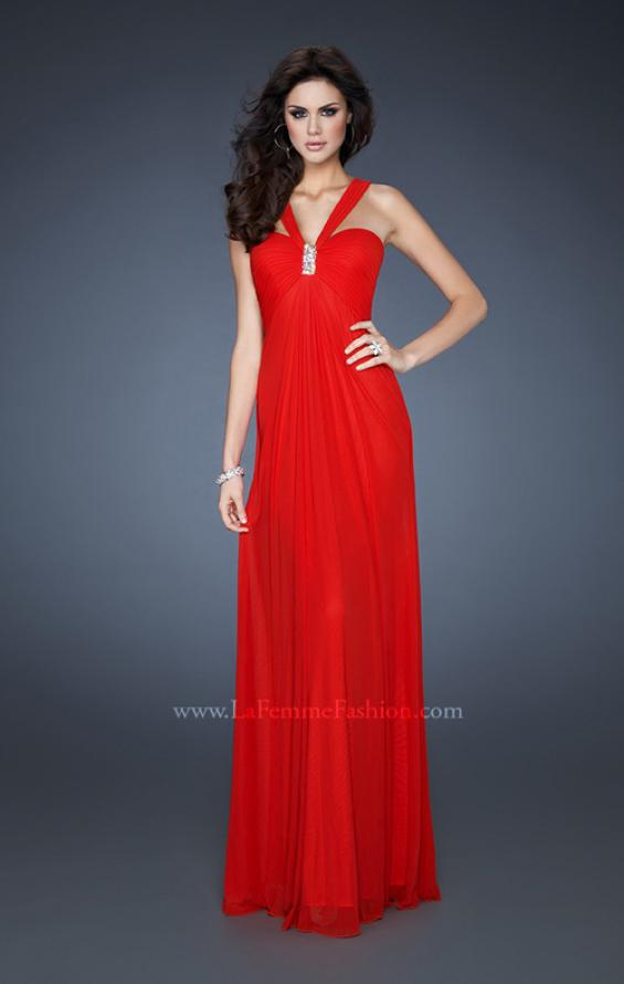 Picture of: Empire Waist Ruched Bodice Prom Dress with Halter Neck in Red, Style: 18755, Main Picture