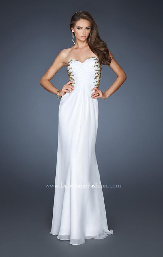 Picture of: Strapless Gown with Sweetheart Neck and Low Open Back in White, Style: 18761, Main Picture