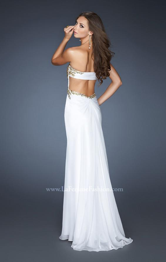 Picture of: Strapless Gown with Sweetheart Neck and Low Open Back in White, Style: 18761, Back Picture