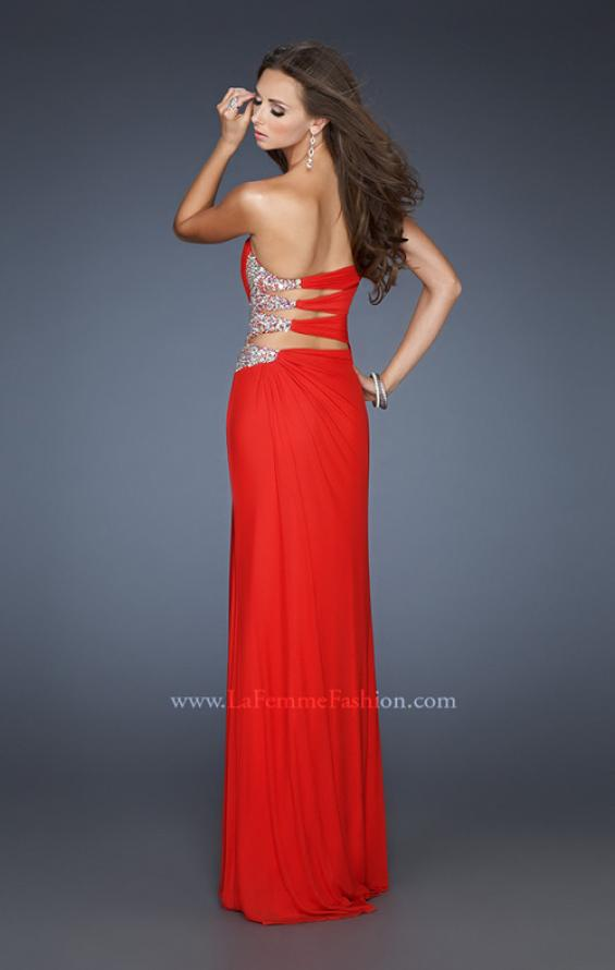 Picture of: Long Stretch Net Prom Dress with Cut Outs and Stones in Red, Style: 18771, Main Picture
