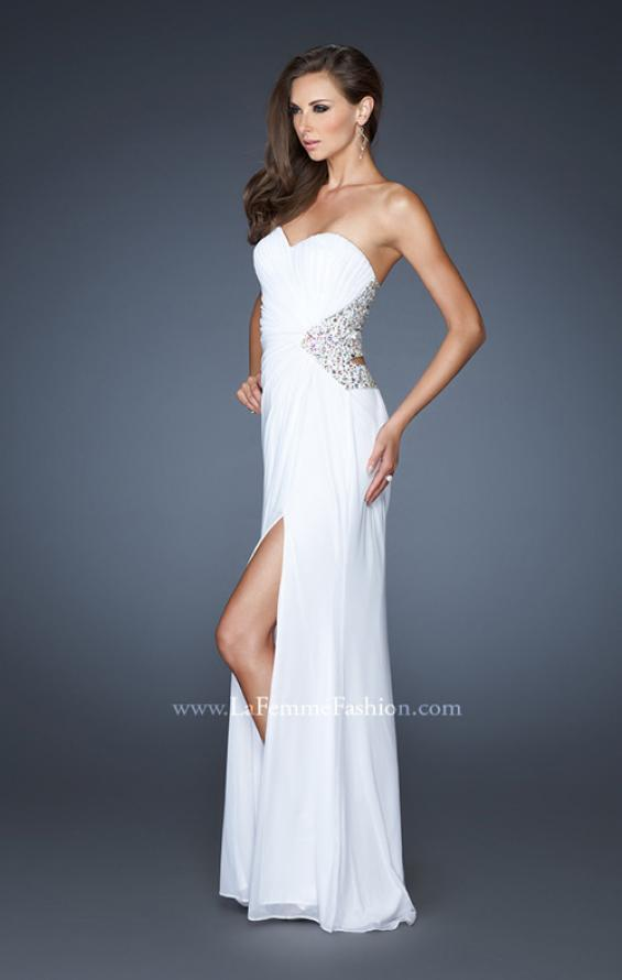 Picture of: Long Stretch Net Prom Dress with Cut Outs and Stones in White, Style: 18771, Back Picture