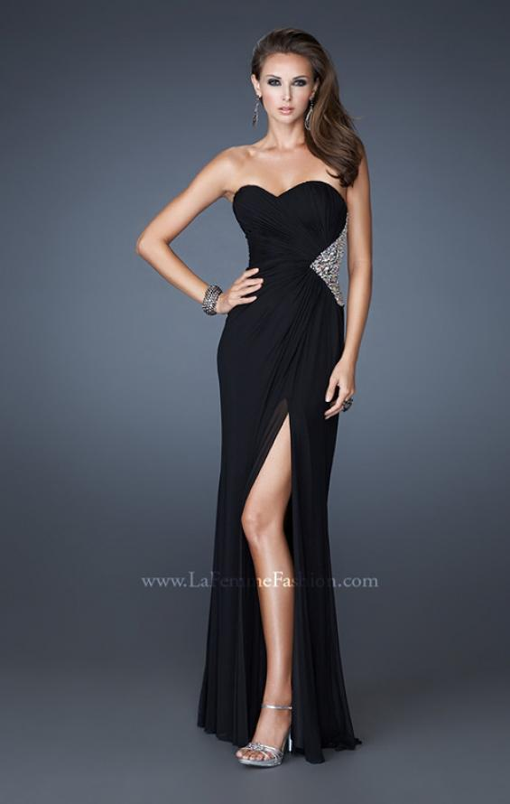 Picture of: Long Stretch Net Prom Dress with Cut Outs and Stones in Black, Style: 18771, Detail Picture 1