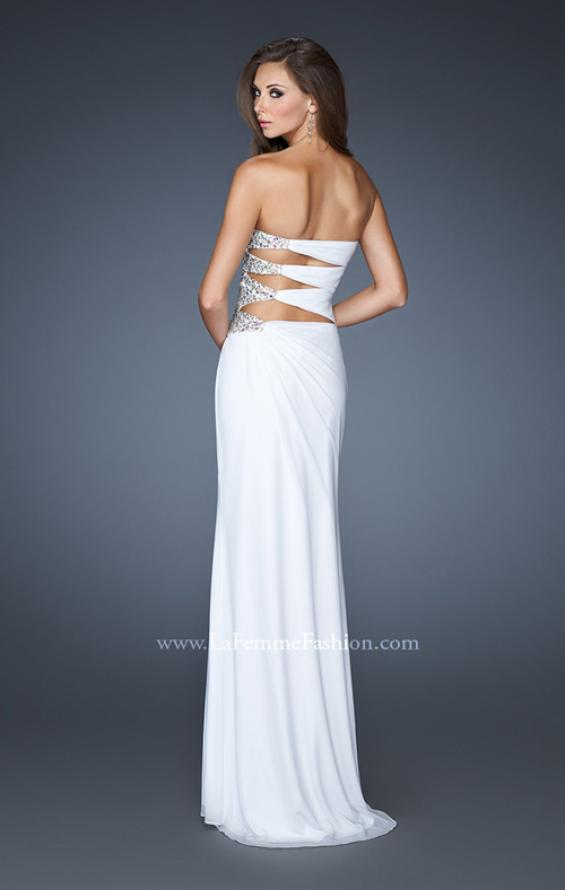 Picture of: Long Stretch Net Prom Dress with Cut Outs and Stones in White, Style: 18771, Detail Picture 3