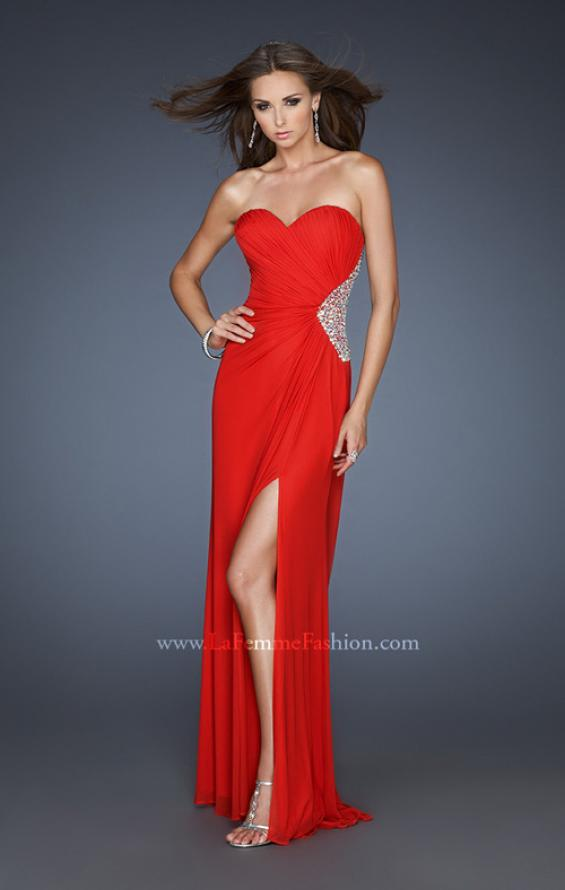 Picture of: Long Stretch Net Prom Dress with Cut Outs and Stones in Red, Style: 18771, Detail Picture 4