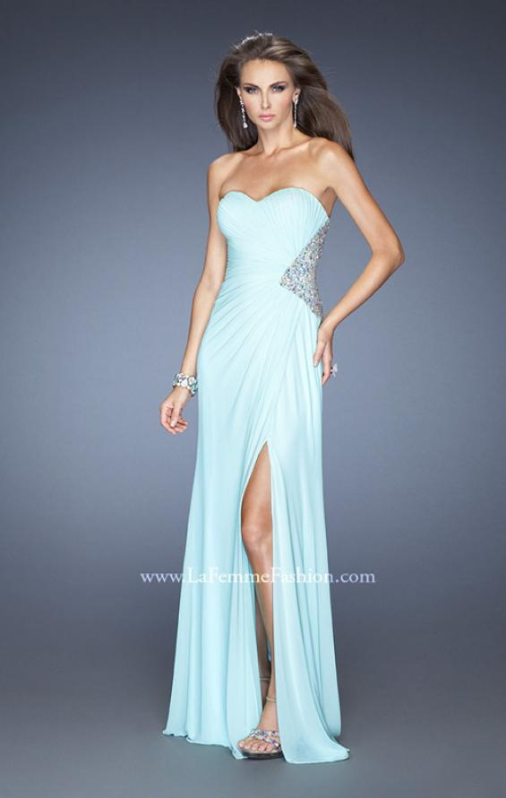 Picture of: Long Stretch Net Prom Dress with Cut Outs and Stones in Blue, Style: 18771, Detail Picture 5