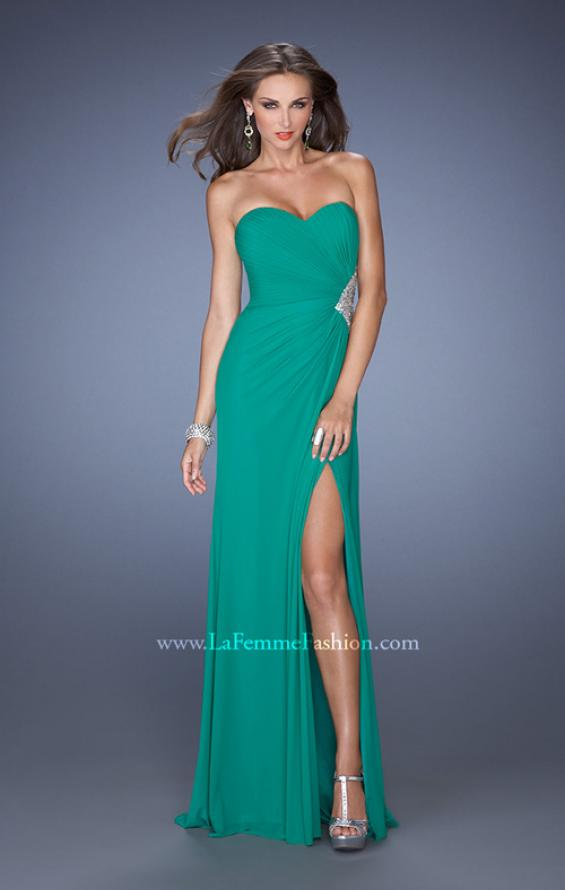 Picture of: Long Stretch Net Prom Dress with Cut Outs and Stones in Green, Style: 18771, Detail Picture 6
