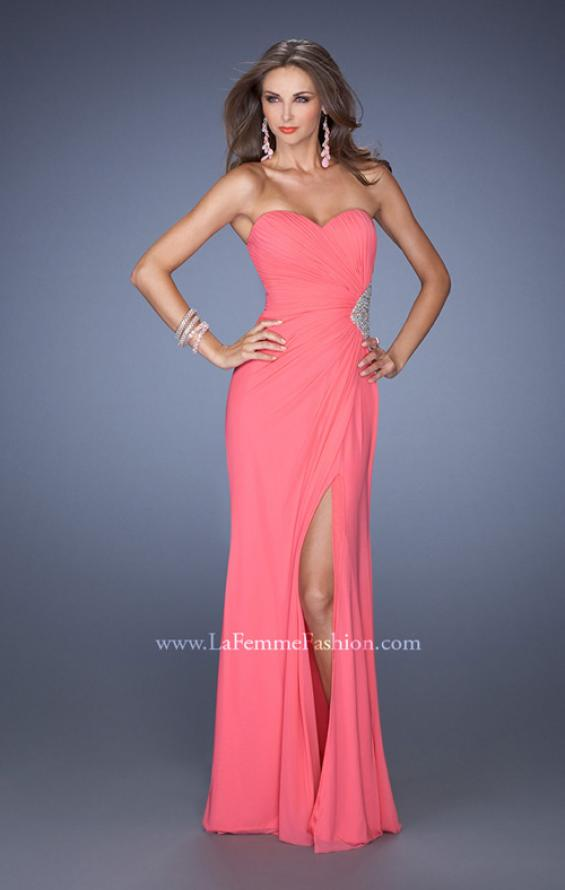 Picture of: Long Stretch Net Prom Dress with Cut Outs and Stones in Pink, Style: 18771, Detail Picture 7