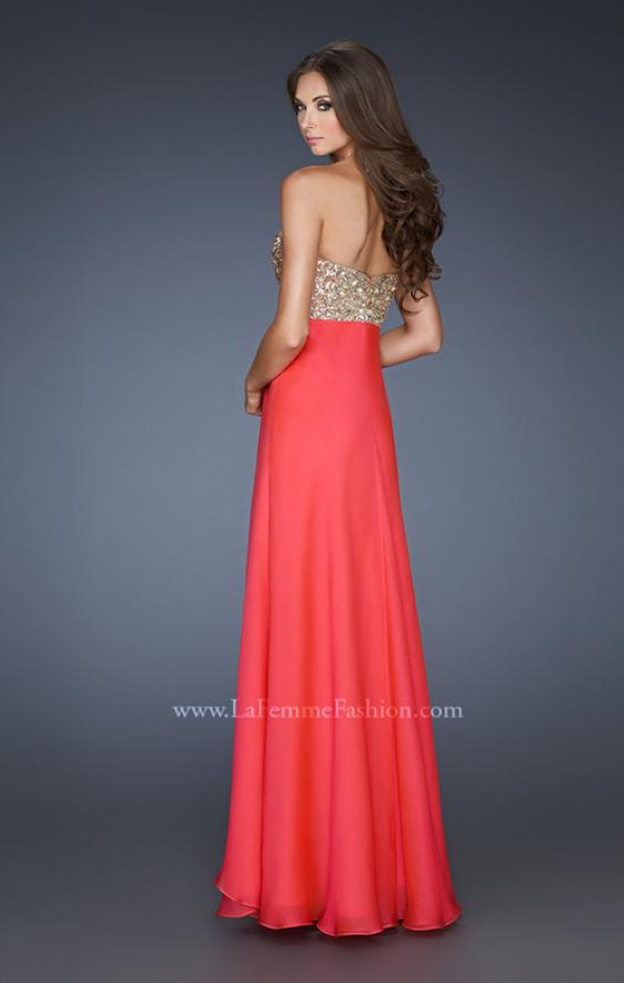 Picture of: Flirty Prom Dress with Sequins and Rhinestone Detail in Orange, Style: 18774, Back Picture