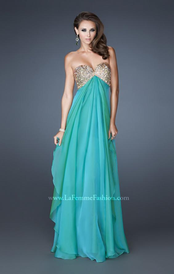 Picture of: Flirty Prom Dress with Sequins and Rhinestone Detail in Green, Style: 18774, Detail Picture 1