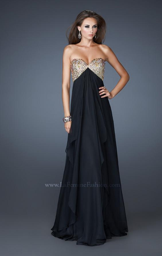 Picture of: Flirty Prom Dress with Sequins and Rhinestone Detail in Black, Style: 18774, Detail Picture 3