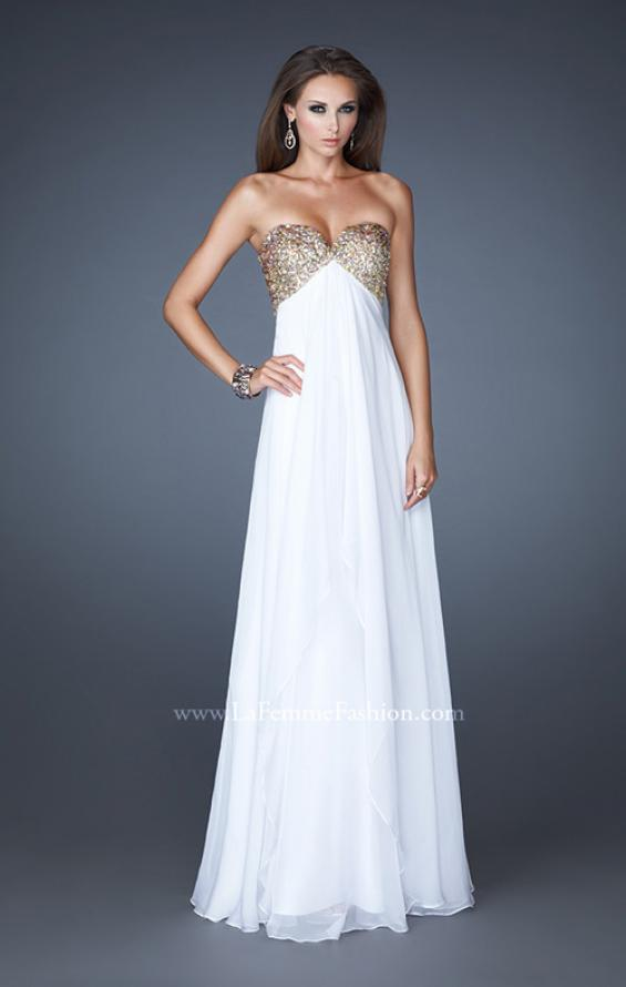 Picture of: Flirty Prom Dress with Sequins and Rhinestone Detail in White, Style: 18774, Detail Picture 4