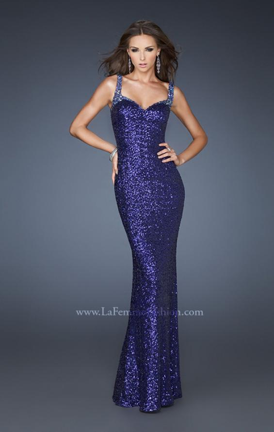 Picture of: Fully Sequined Long Trumpet Style Prom Gown with V Back in Purple, Style: 18776, Main Picture