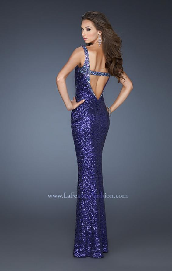 Picture of: Fully Sequined Long Trumpet Style Prom Gown with V Back in Purple, Style: 18776, Back Picture
