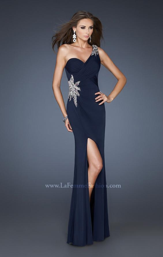 Picture of: One Shoulder Gown with Open Cut Out Back and Slit in Blue, Style: 18780, Main Picture