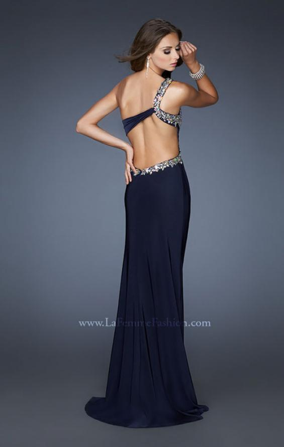 Picture of: Long One Shoulder Gown with Open Back and Beads, Style: 18783, Main Picture