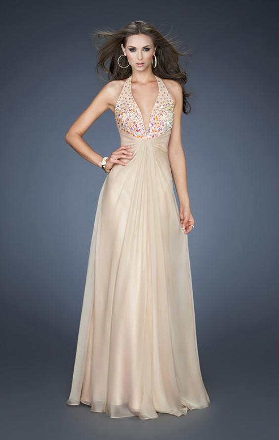 Picture of: A-line Chiffon Gown with Beaded One Shoulder Strap, Style: 18795, Main Picture