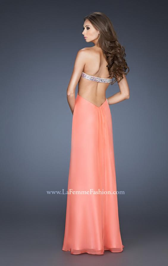 Picture of: Glam Chiffon Prom Dress with Sweetheart Neck and Beads in Orange, Style: 18796, Back Picture