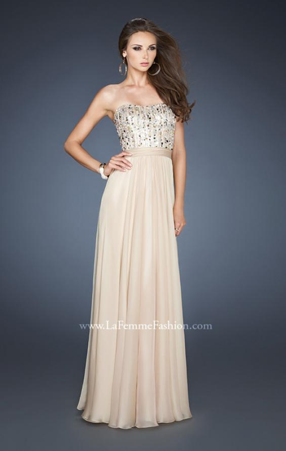 Picture of: Long Chiffon Dress with Beaded Bodice and A-line Skirt, Style: 18801, Main Picture