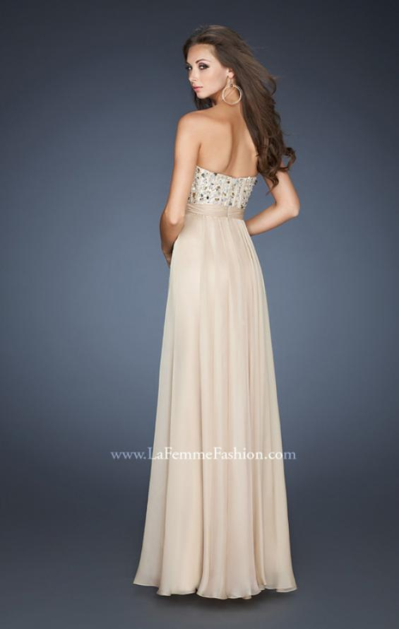 Picture of: Long Chiffon Dress with Beaded Bodice and A-line Skirt, Style: 18801, Back Picture