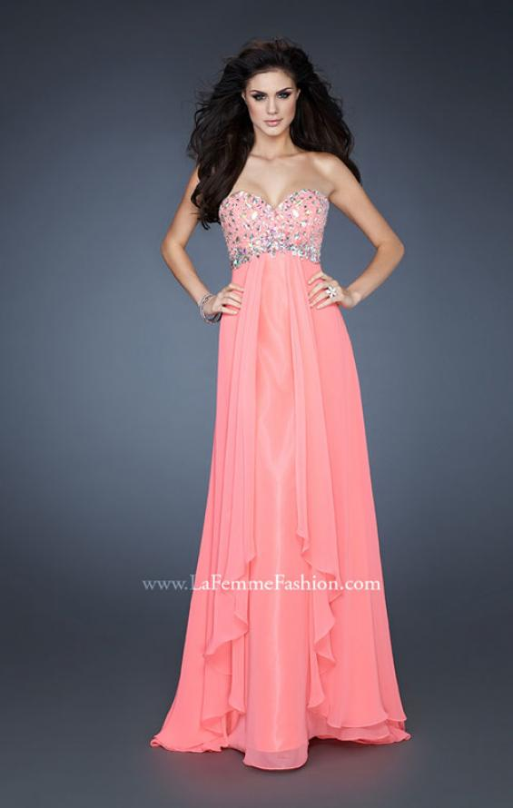 Picture of: Chiffon Dress with Beaded Bodice and Empire Waist in Orange, Style: 18803, Main Picture