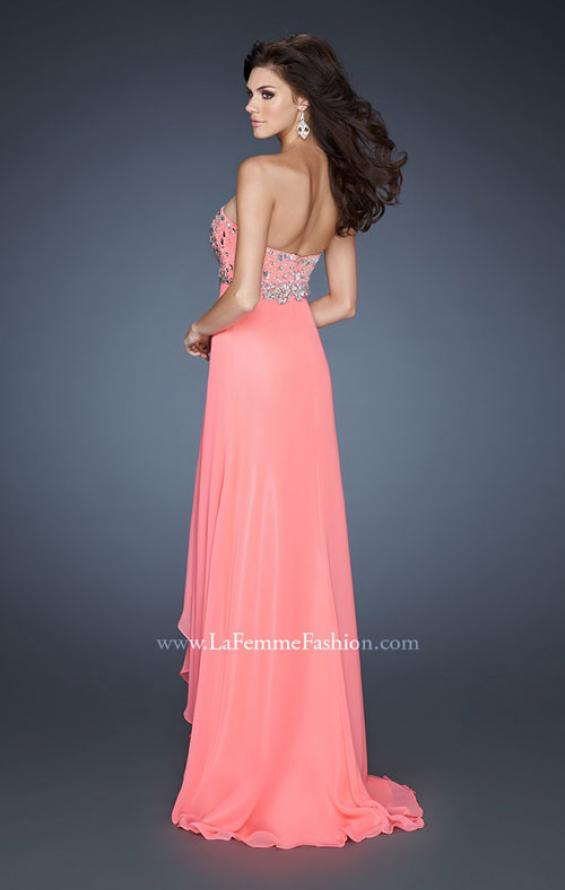 Picture of: Chiffon Dress with Beaded Bodice and Empire Waist in Orange, Style: 18803, Back Picture