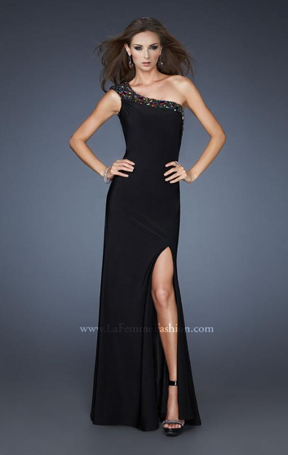 Picture of: One Shoulder Dress with Beaded Neckline and Slit in Black, Style: 18806, Main Picture
