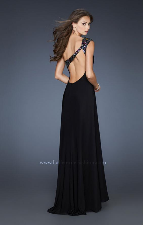 Picture of: One Shoulder Dress with Beaded Neckline and Slit in Black, Style: 18806, Back Picture