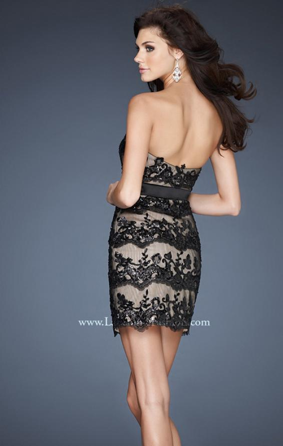 Picture of: Sequined Lace Cocktail Dress with Satin Belt Detail in Black, Style: 18808, Back Picture