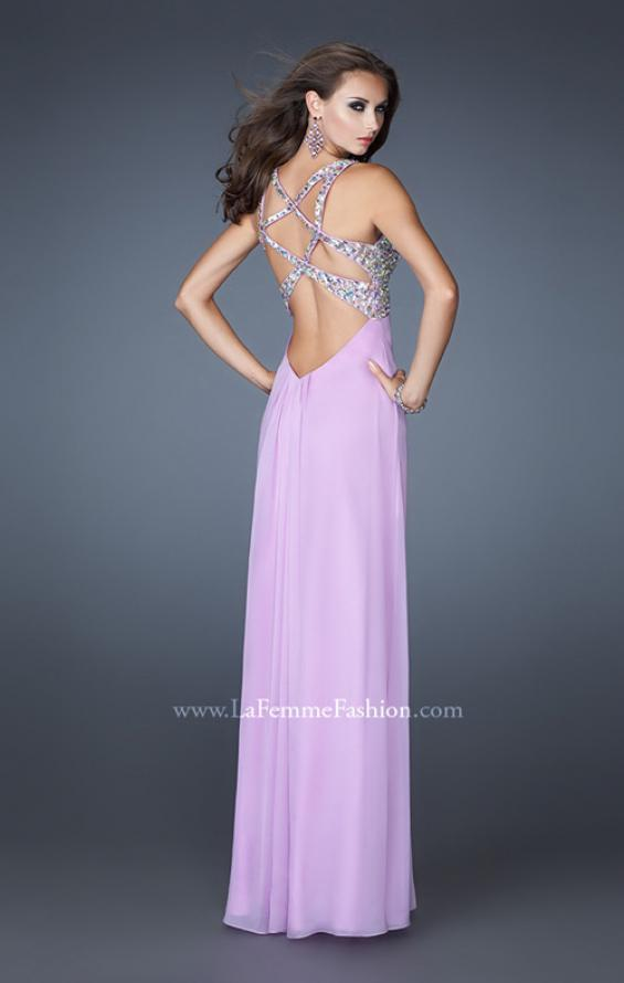 Picture of: Chiffon Prom Dress with Cut Out Back and Beading in Purple, Style: 18841, Main Picture
