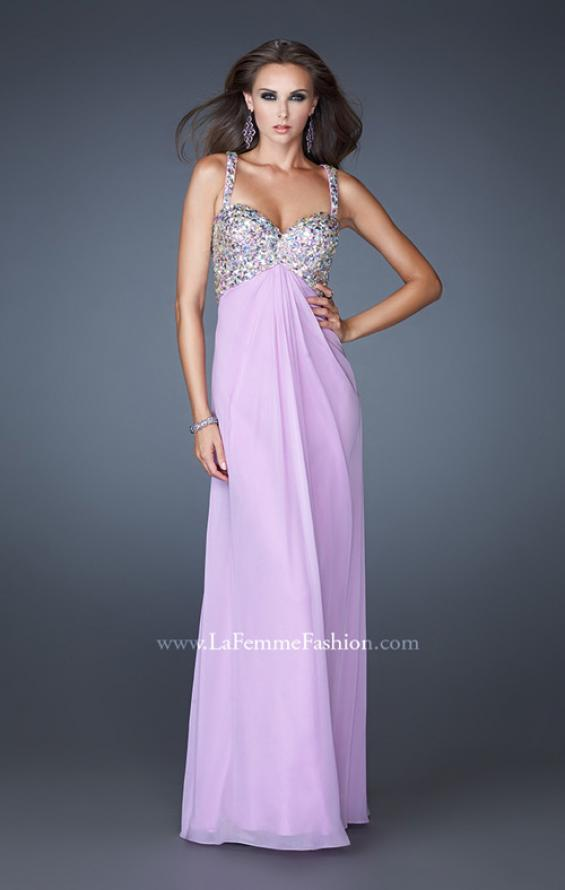 Picture of: Chiffon Prom Dress with Cut Out Back and Beading in Purple, Style: 18841, Back Picture