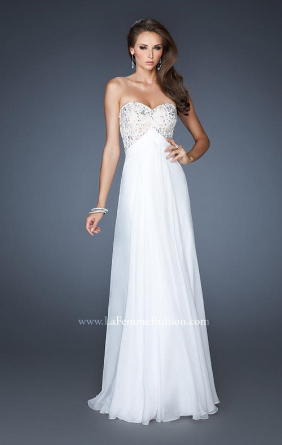 Picture of: Flowy Chiffon Prom Dress with Beaded Lace Bodice in White, Style: 18847, Main Picture