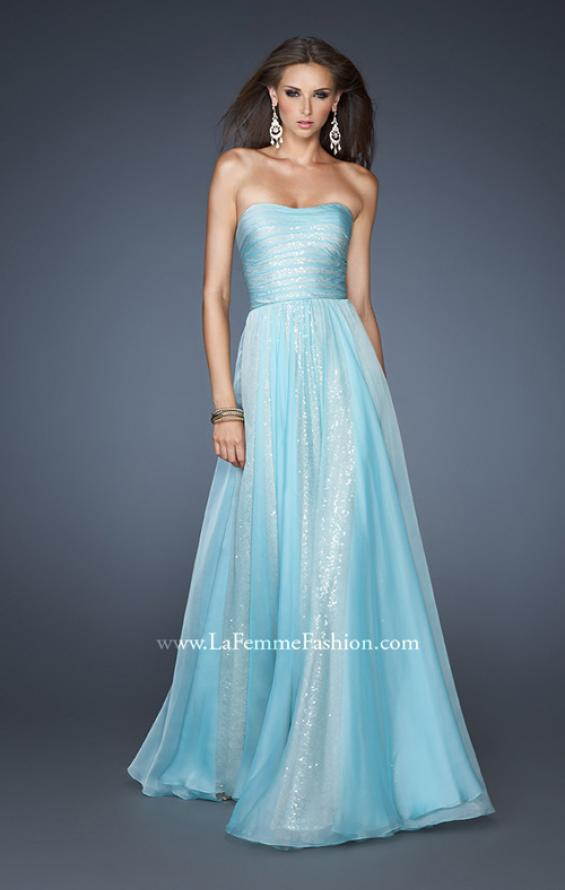 Picture of: Sequined Prom Dress with Chiffon Overlay and Gathers in Blue, Style: 18848, Main Picture