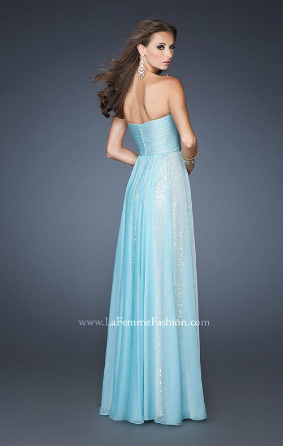 Picture of: Sequined Prom Dress with Chiffon Overlay and Gathers in Blue, Style: 18848, Back Picture