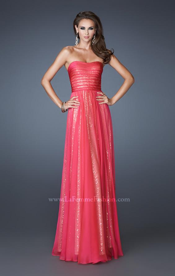 Picture of: Sequined Prom Dress with Chiffon Overlay and Gathers in Pink, Style: 18848, Detail Picture 1