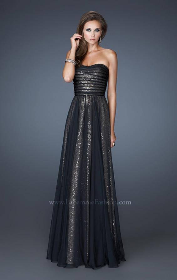Picture of: Sequined Prom Dress with Chiffon Overlay and Gathers in Black, Style: 18848, Detail Picture 2