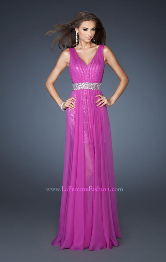 Picture of: Short Sequin Prom Dress with Long Chiffon Overlay and Belt in Purple, Style: 18865, Main Picture