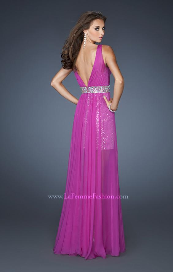 Picture of: Short Sequin Prom Dress with Long Chiffon Overlay and Belt in Purple, Style: 18865, Back Picture