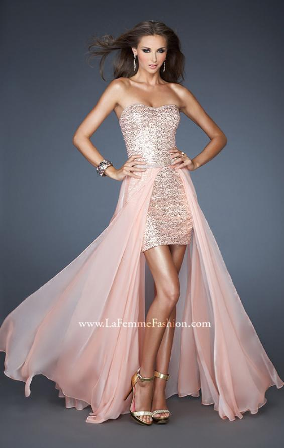 Picture of: Short Strapless Prom Dress with Detachable Chiffon Skirt, Style: 18872, Main Picture