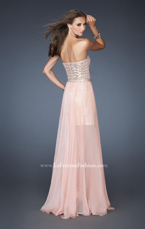 Picture of: Short Strapless Prom Dress with Detachable Chiffon Skirt, Style: 18872, Back Picture