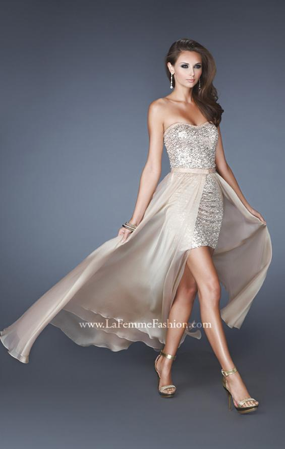 Picture of: Short Strapless Prom Dress with Detachable Chiffon Skirt, Style: 18872, Detail Picture 5