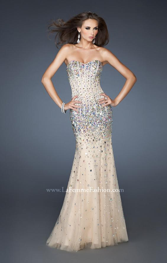 Picture of: Long Strapless Bedazzled Mermaid Gown with Corset Bodice in Nude, Style: 18873, Main Picture