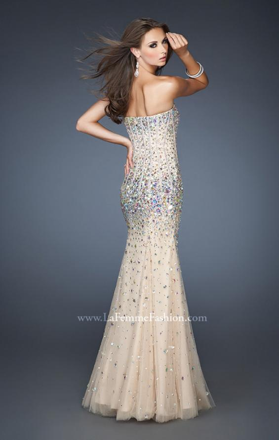 Picture of: Long Strapless Bedazzled Mermaid Gown with Corset Bodice in Nude, Style: 18873, Back Picture