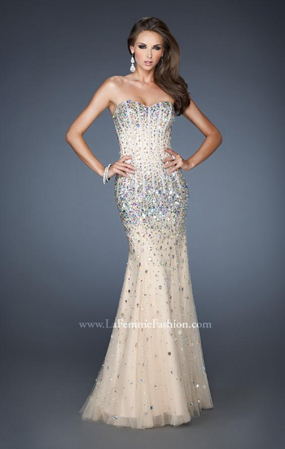 Picture of: Long Strapless Bedazzled Mermaid Gown with Corset Bodice in Nude, Style: 18873, Detail Picture 1